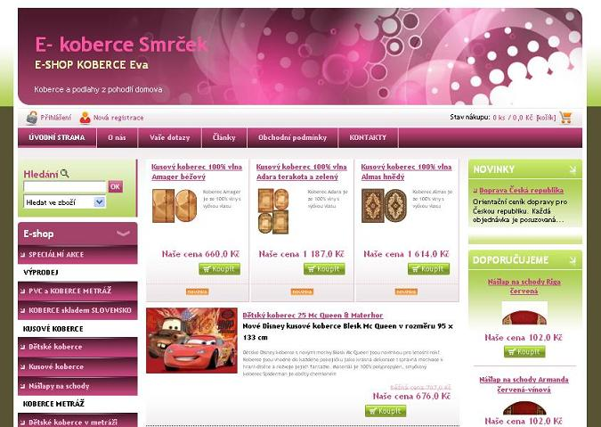 Internetový predaj podlahových krytín, kobercov, pvc, vinylových podlah, behúňov, nášlapov na schody a doplnkov